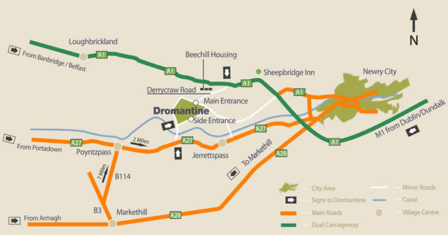 Dromantine Centre Road Map